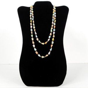 Vtg Beaded Necklace Pastel w Gold-tone Links 1960s